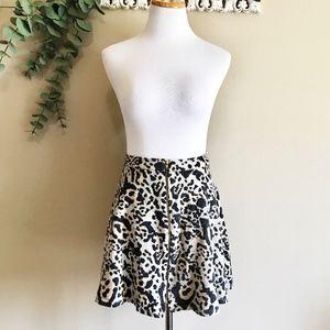 Topshop Leopard Print Skater Skirt Size Medium